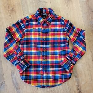 Lands End Kids Button front flannel shirt small